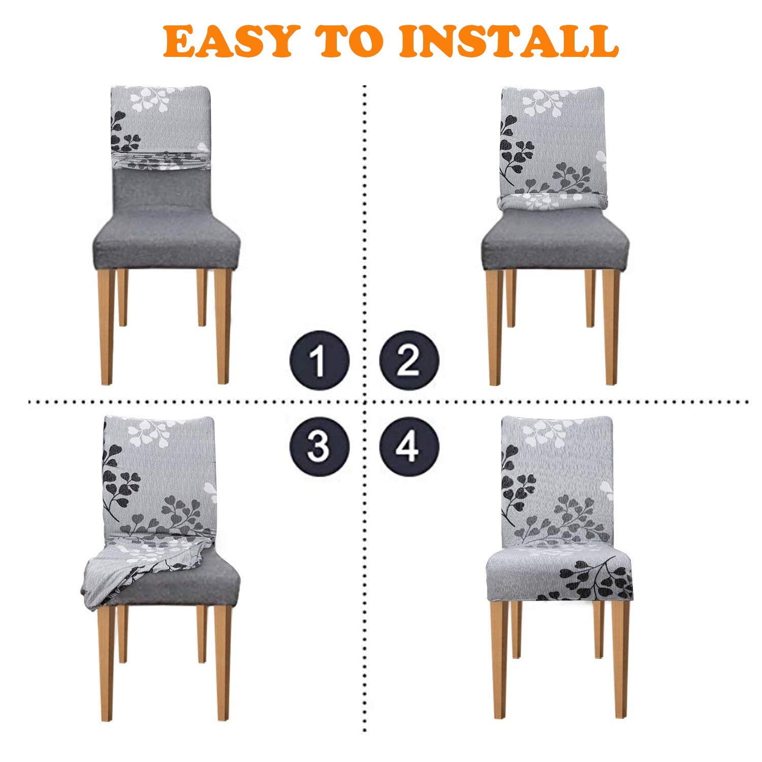 Xflyee Stretch Dining Room Chair Covers Jacquard Removable Washable Kitchen Parson Chair Slipcovers Set of 4 (A, 4 Pack) by Xflyee (Image #5)