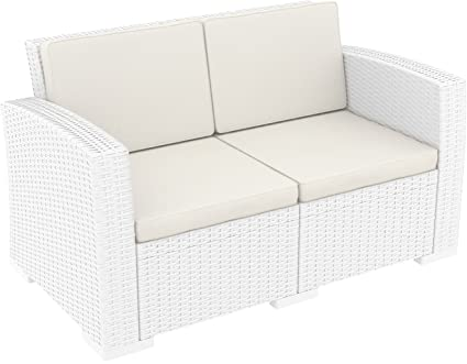 Fine Amazon Com Compamia Monaco Patio Loveseat With Cushions Alphanode Cool Chair Designs And Ideas Alphanodeonline
