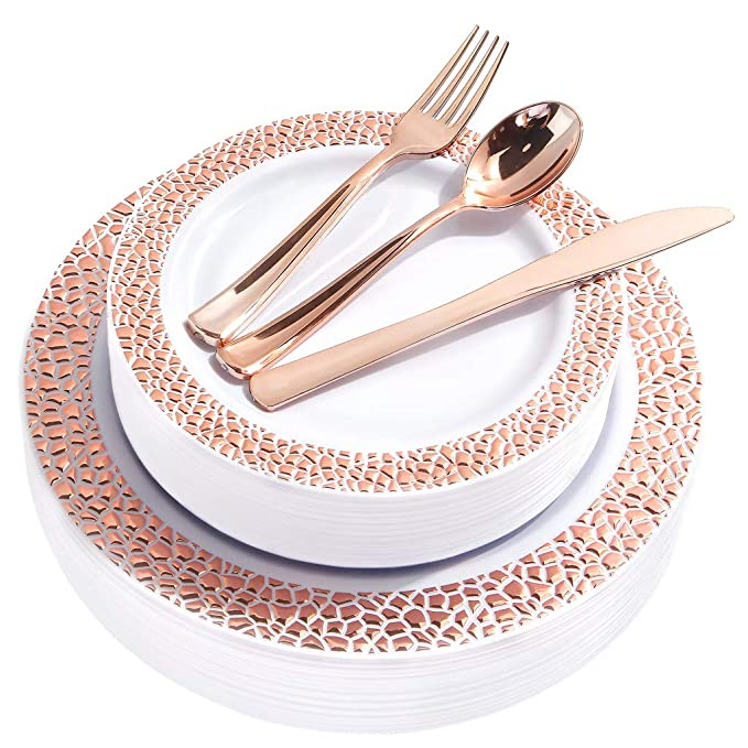 BUCLA 25 Guest Rose Gold Plastic Plates with Disposable Plastic Silverware, Hammered Design Plastic Tableware include 25 Dinner Plates,25 Salad Plates,25 Forks, 25 Knives, 25 Spoons