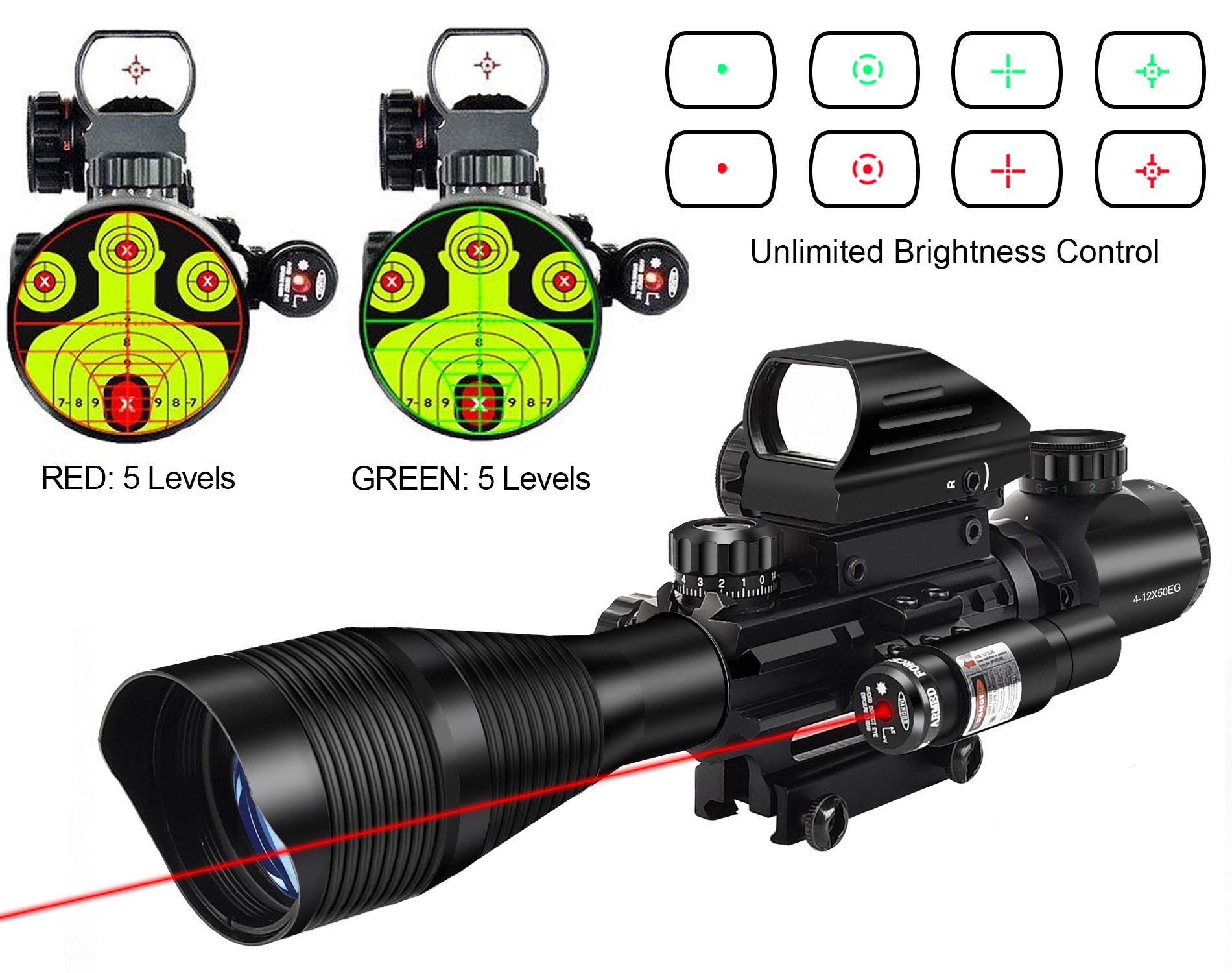 MidTen 4-12x50 Dual Illuminated Scope with Dot Sight & Laser Sight & 20mm Mount (Red Laser) by MidTen