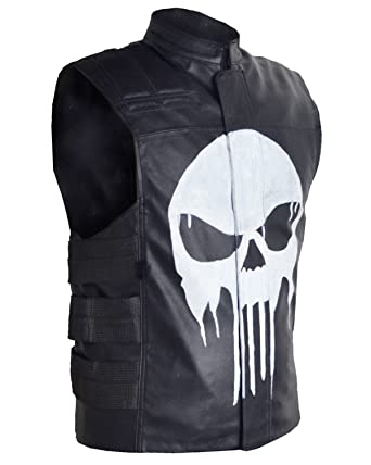 Punisher In For Leather Vest Jane's Thomas Genuine Men The Lambskin OZEyA