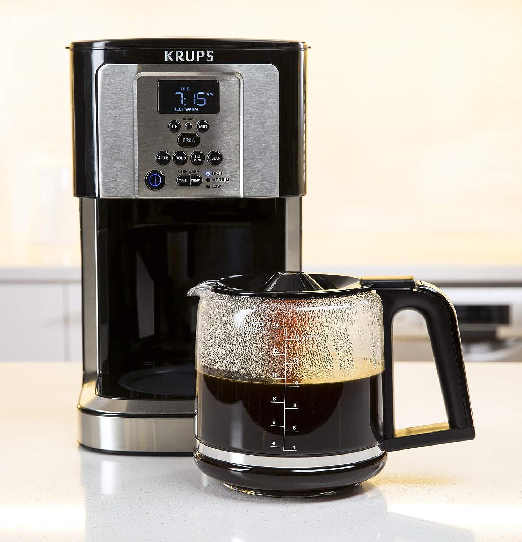 KRUPS EC324050 Savoy Programmable Coffee Maker 14 Cup, Black/Silver
