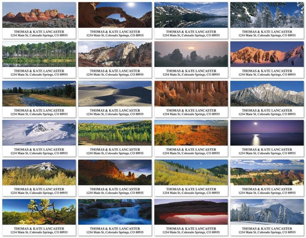 Flat-Sheet Deluxe Address Labels 24 Designs Natural Landscapes Self-Adhesive