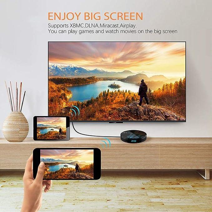 Difcuy HK1 Max Android 9.0 TV Box,4K Ultra HD Dual WiFi 2.4Ghz//5Ghz RK3328 4GB DDR3 64GB EMMC Quad-Core 64Bits Set Top Box Smart Media Player,US Plug^ 2+16g