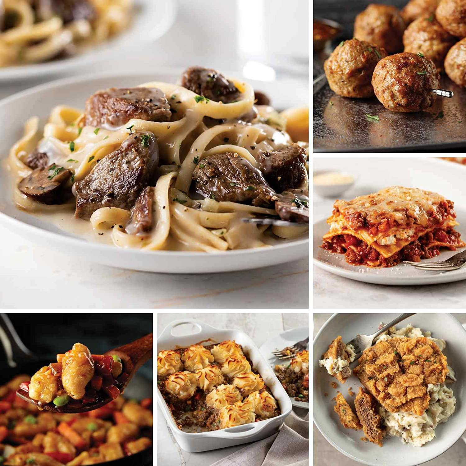 A Gift For Busy Families from Omaha Steaks (Filet Mignon Stroganoff, Skillet Meal: Tempura Orange Chicken, Beef Shepherd's Pie, Chicken Fried Steaks, Meat Lover's Lasagna, and more)