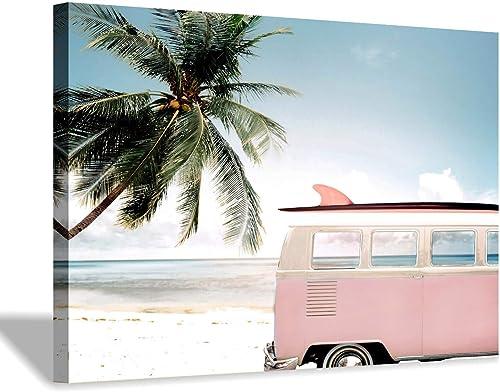 Beach Picture Coastal Wall Art: Pink Car