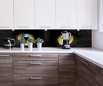 Cocina Pared Trasera Primer Plano de Gato Negro Design M1013 260 x 50 cm (W x ...