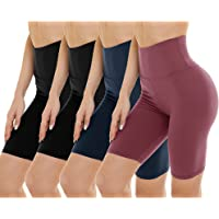 Gayhay Paquete de 4 pantalones cortos de motociclista para mujer, cintura alta, control de barriga, pantalones cortos de…