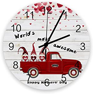 Wood Round Wall Clock 12 Inch, Mother's Day Car with Gnomes and Love Quotes, Silent Non-Ticking Quartz Battery Operated Wall Clocks, Wooden Texture for Home/School/Office Decor