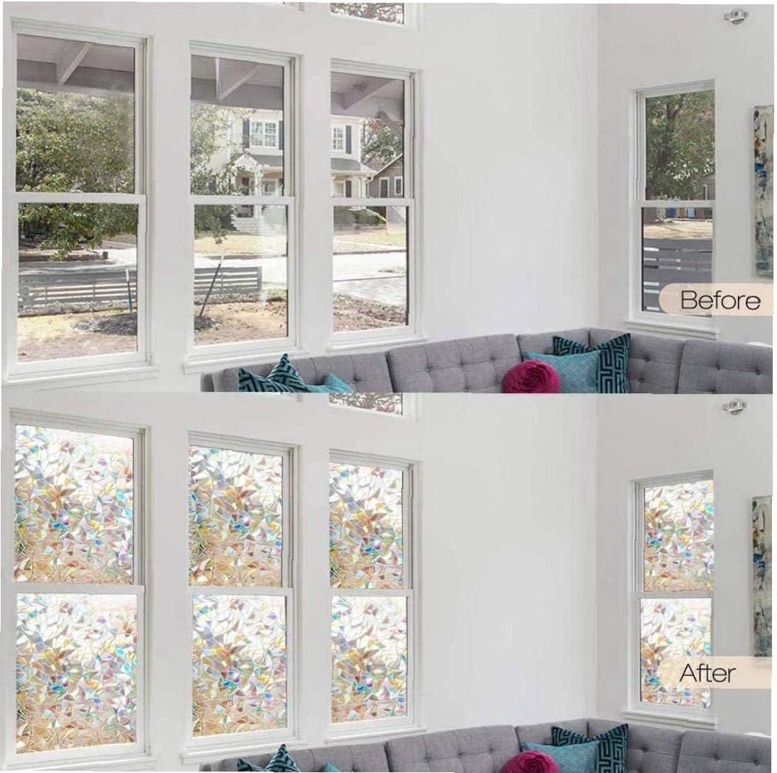 Nicedier Ventana de Privacidad Film est/ático Cling Etiqueta de la Ventana 3D Hogar Decorativo Decal PVC Rainbow 90x200cm inadhesivo