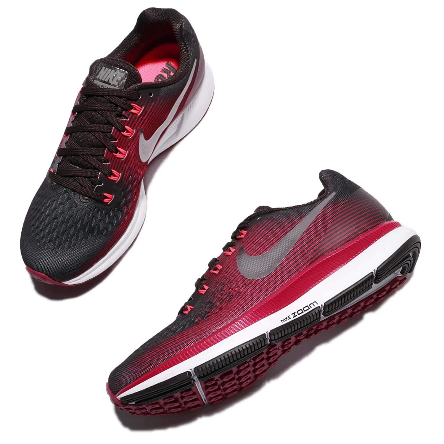 89dec64742875 Nike Women s Air Zoom Pegasus 34 Running Shoe (Gem) Shadow Brown Metallic  Pewter Rush Maroon Size 9.5 M US  Amazon.in  Shoes   Handbags