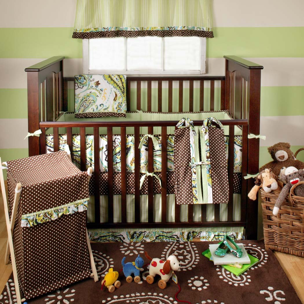 Baby cribs green - Amazon Com My Baby Sam Paisley Splash 3 Piece Crib Bedding Set Lime Baby Boy Bedding Baby