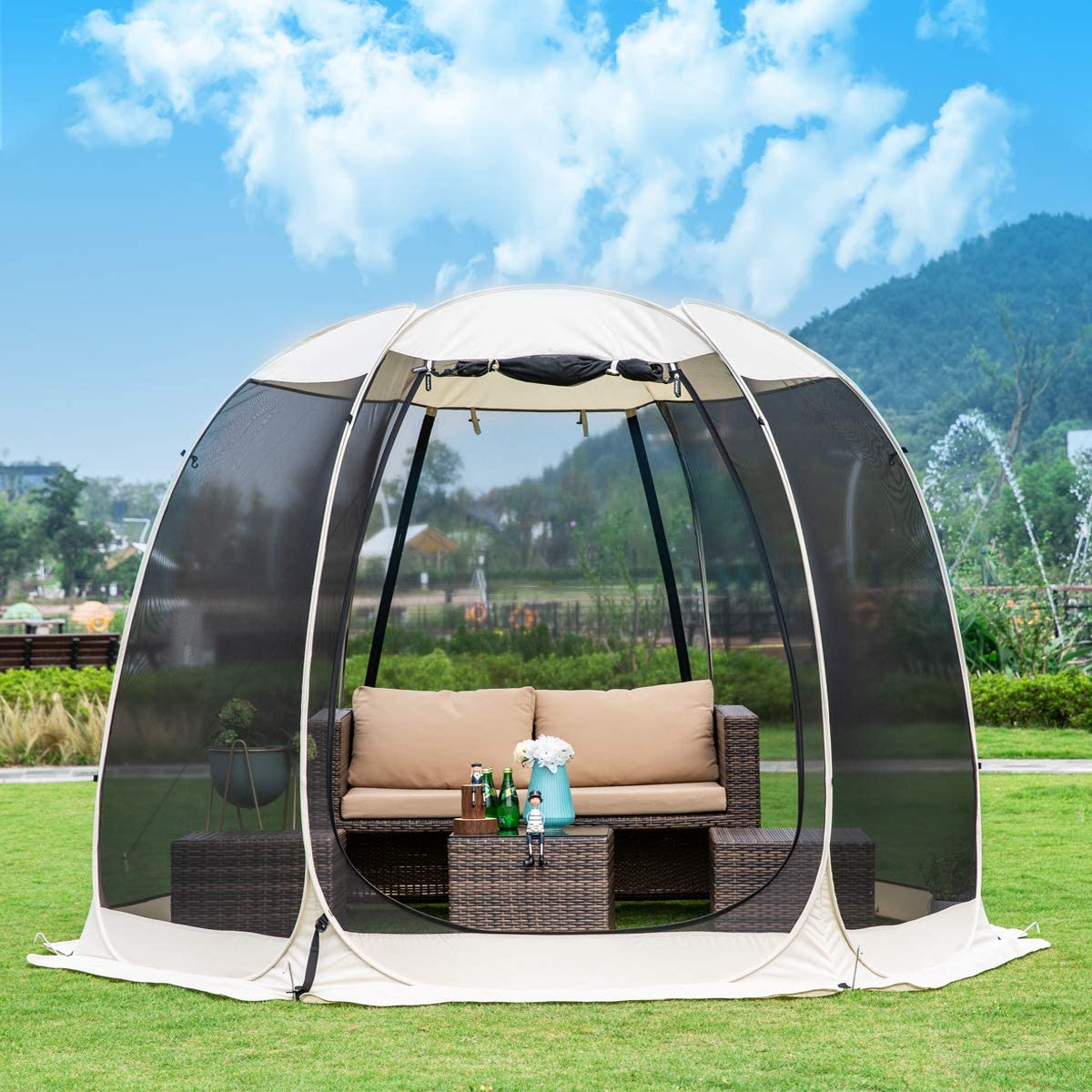 Leedor Gazebos for Patios Screen House Room 6-8 Person Canopy Mosquito Net Camping Tent Dining Pop Up Sun Shade Shelter Mesh Walls Not Waterproof Beige,10 x10