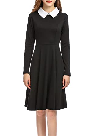 0d131a56271e Nicetage Women's Long Sleeve Peter Pan Collar Flare Skater Dress Casual  Dress HS348-244 Black