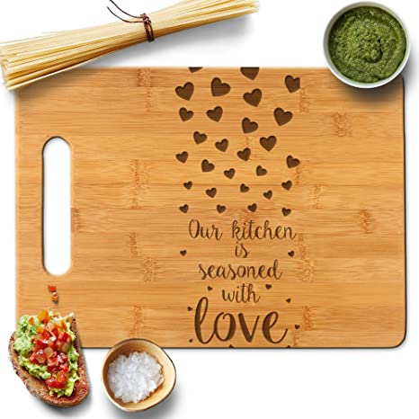 froolu kitchen seasoned with love bamboo chopping block for mothers day mom grandmother christmas
