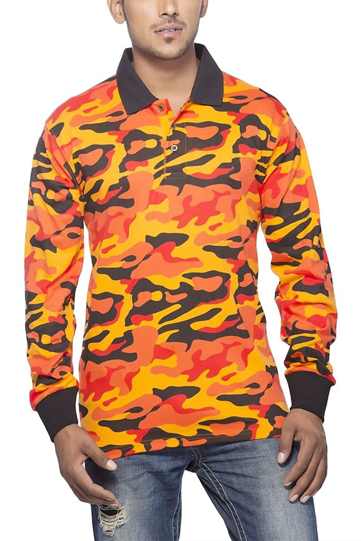 Clifton Mens Army Printed Full Sleeve Collar Polo T-Shirt-Bright Orange