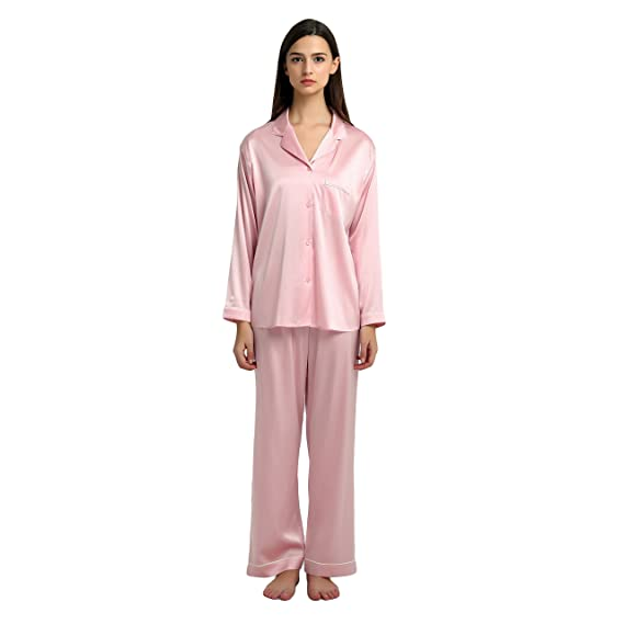 8dc9325cd6 JASMINE SILK Ladies  Pure Silk Pyjamas Set Pink  Amazon.co.uk  Clothing