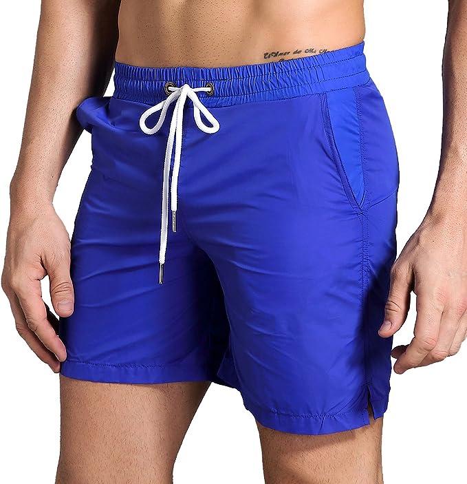 Men Beach Shorts Sailor Stripe Red Anchor Stretch Board Swim Trunks Drawstring Waist Board Shorts