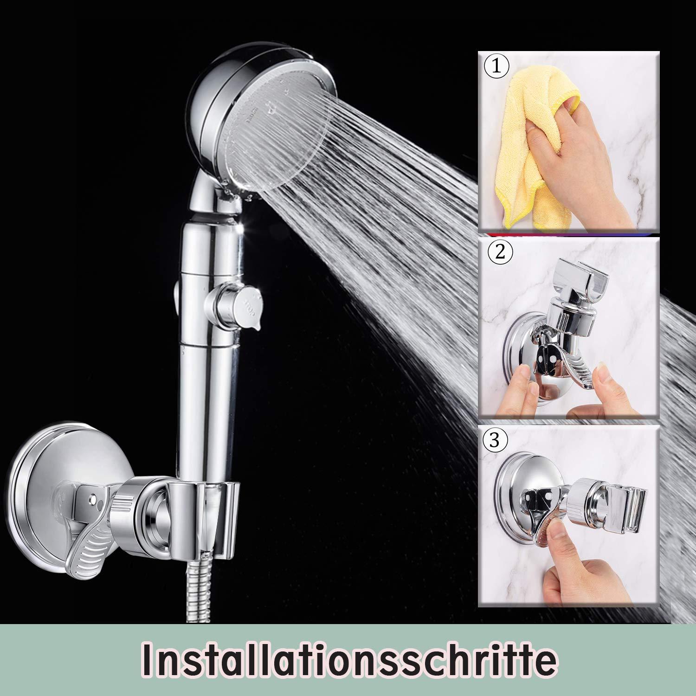 Duschkopfhalterung Saugnapf Verstellbarer Brausehalter Bad Saugnapf mit 360/° drehbar Brausehalter f/ür Handbrause,Abnehmbarer Handbrause Halterung und an der Wand montierte Saughalterung