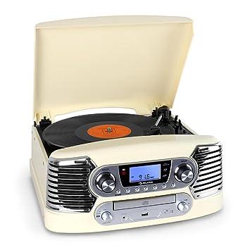 AUNA RTT-885CM Cadena estéreo Tocadiscos CD USB MP3 (Reproductor CD Integrado, Radio Am FM, digitalizador vinilos a MP3, Altavoces Estereo Integrados, ...