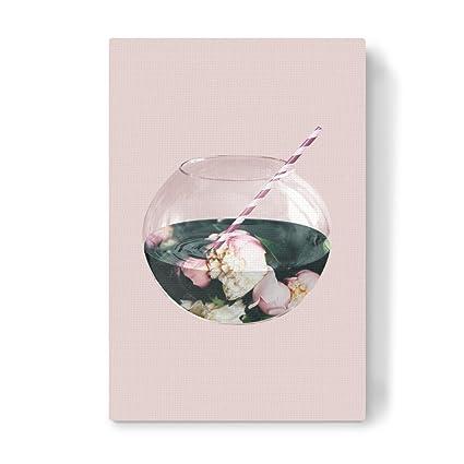 "artboxone Lienzo Floral Natural Essen & Beber ""flores Acuario Verde de impresión sobre"