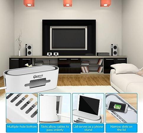 Caja organizadora de cables de almacenamiento con 6 fundas de cable de 11,8 x 5,1 x 4,3 cm, caja de gestión para cubrir y ocultar la televisión, cables de ordenador, ordenar tu