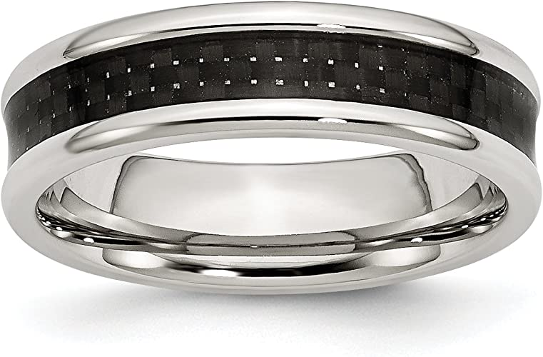 Diamond2Deal Stainless Steel 8mm Black IP-Plated Polished Band Fine Jewelry Ideal Gifts for Women