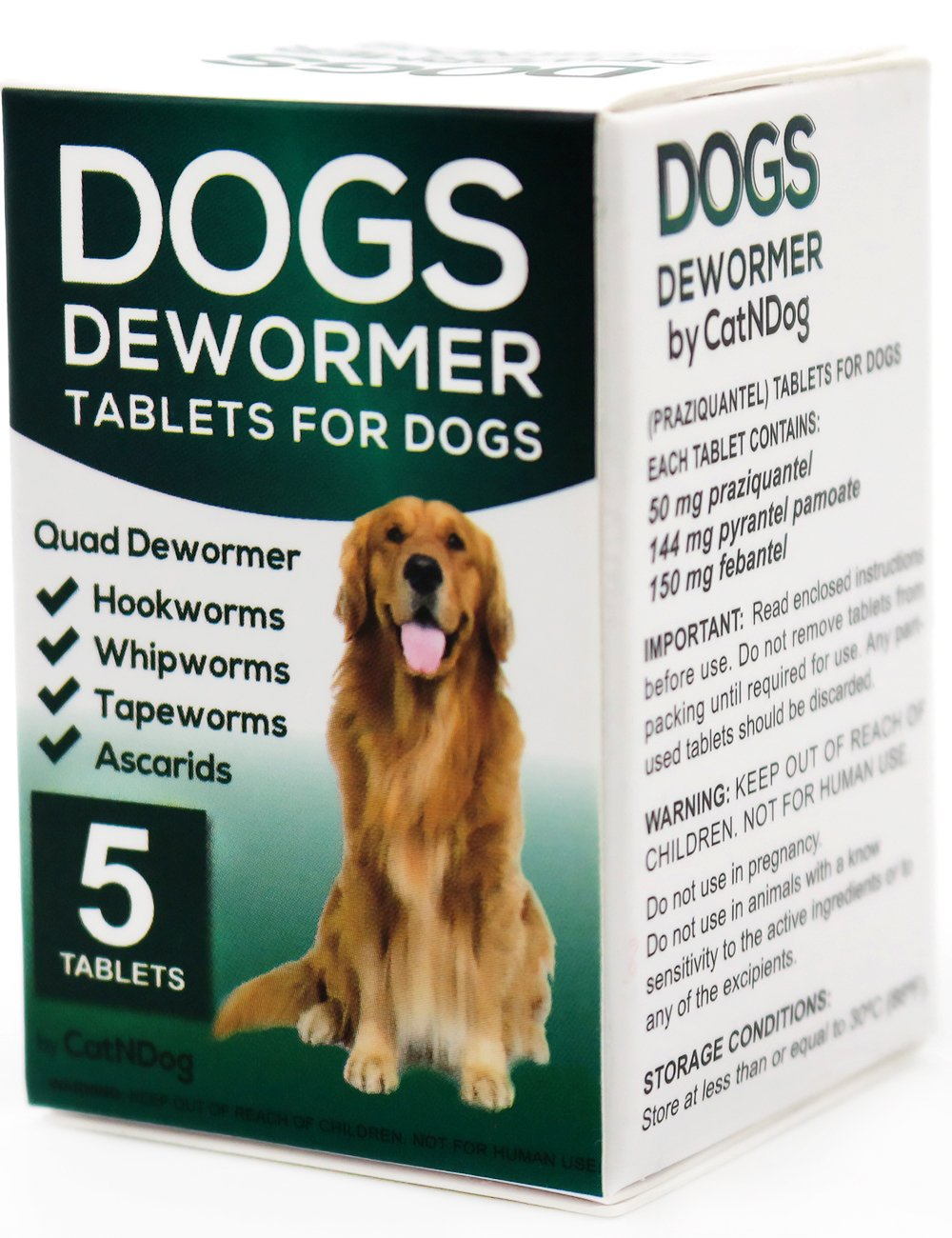 CatNDog Quad Dewormer for dogs, Medicine Pills Wormer for Large and Puppy 5 Tablets