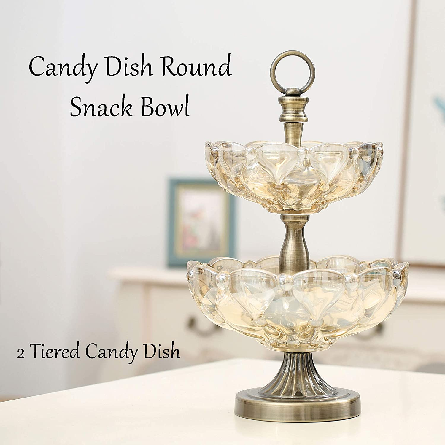 Heavy-Duty Aluminum Base Matashi Vintage Champagne Colored Glass Candy Dish Round Snack Bowls for Home PortablE Reusable Parties 2 Tiered Candy Dish, Pearl Belle Office