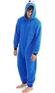 40a06c7a8e Amazon.com  Adult Cookie Monster Onesie Fleece Cartoon Sleepwear ...