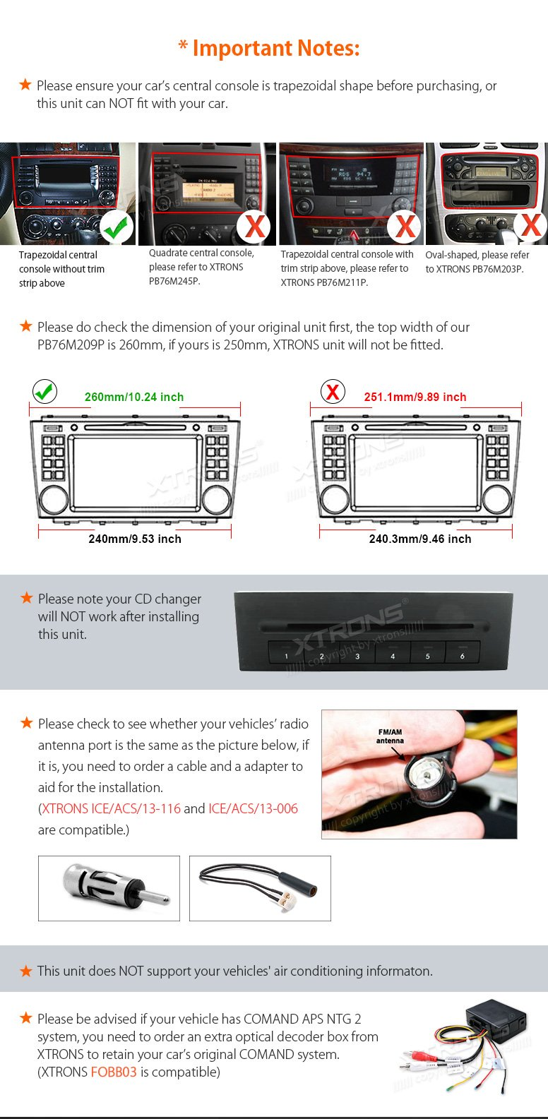 XTRONS Android 6.0 Octa-Core 64Bit 2G RAM 32GB ROM 7 Inch Capacitive Touch Screen Car Stereo Radio DVD Player GPS CANbus Screen Mirroring Function OBD2 Tire Pressure Monitoring for Mercedes-Benz by XTRONS (Image #4)