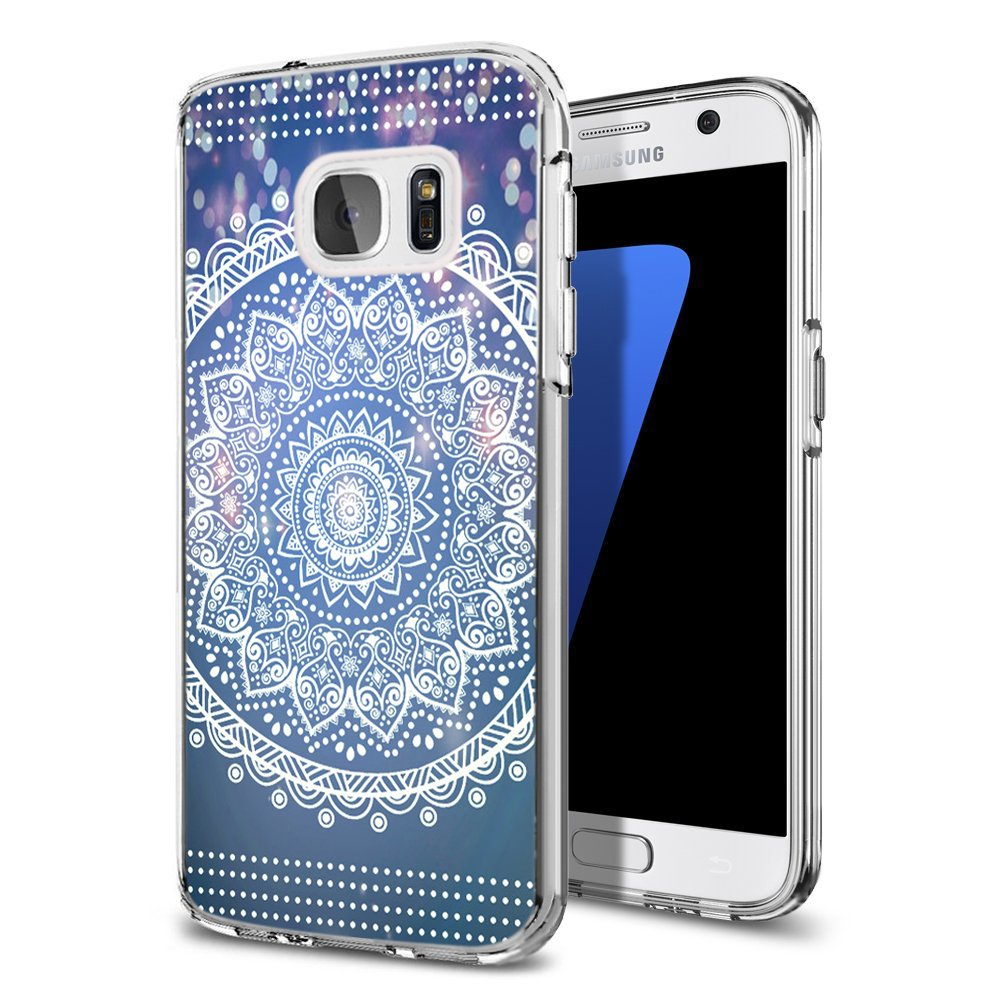 save off b66c8 3c378 S7 Case India Mandala,Ecute Soft Slim Flexible Clear Rubber Side + Style  Hard Back Case for for Samsung Galaxy S7 5.1 Inch - Design of Dreamlike  White ...