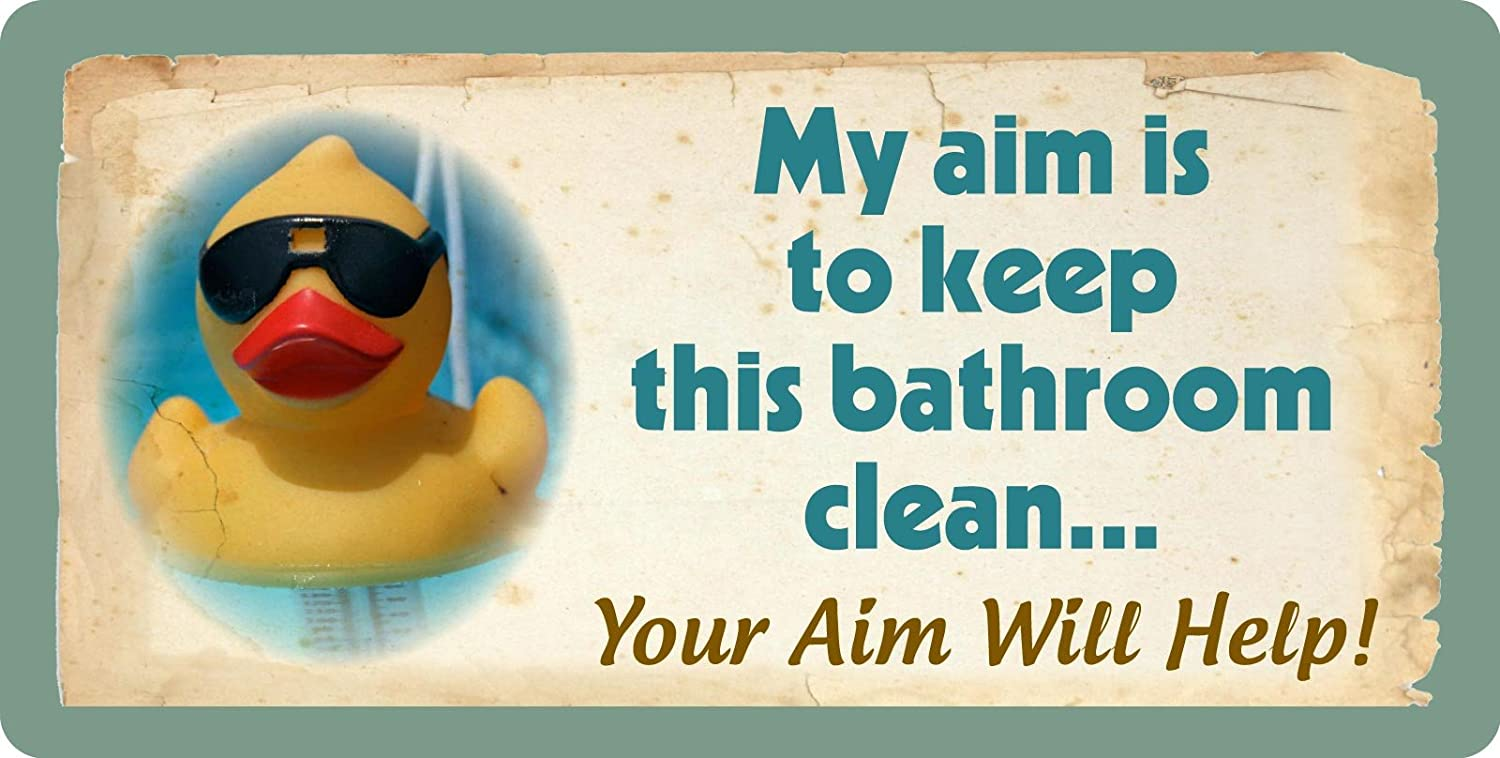 """StickerPirate 606HS Rubber Duck Ducky My Aim is to Keep Bathroom Clean Your Aim Will Help 5""""x10"""" Aluminum Hanging Novelty Sign"""