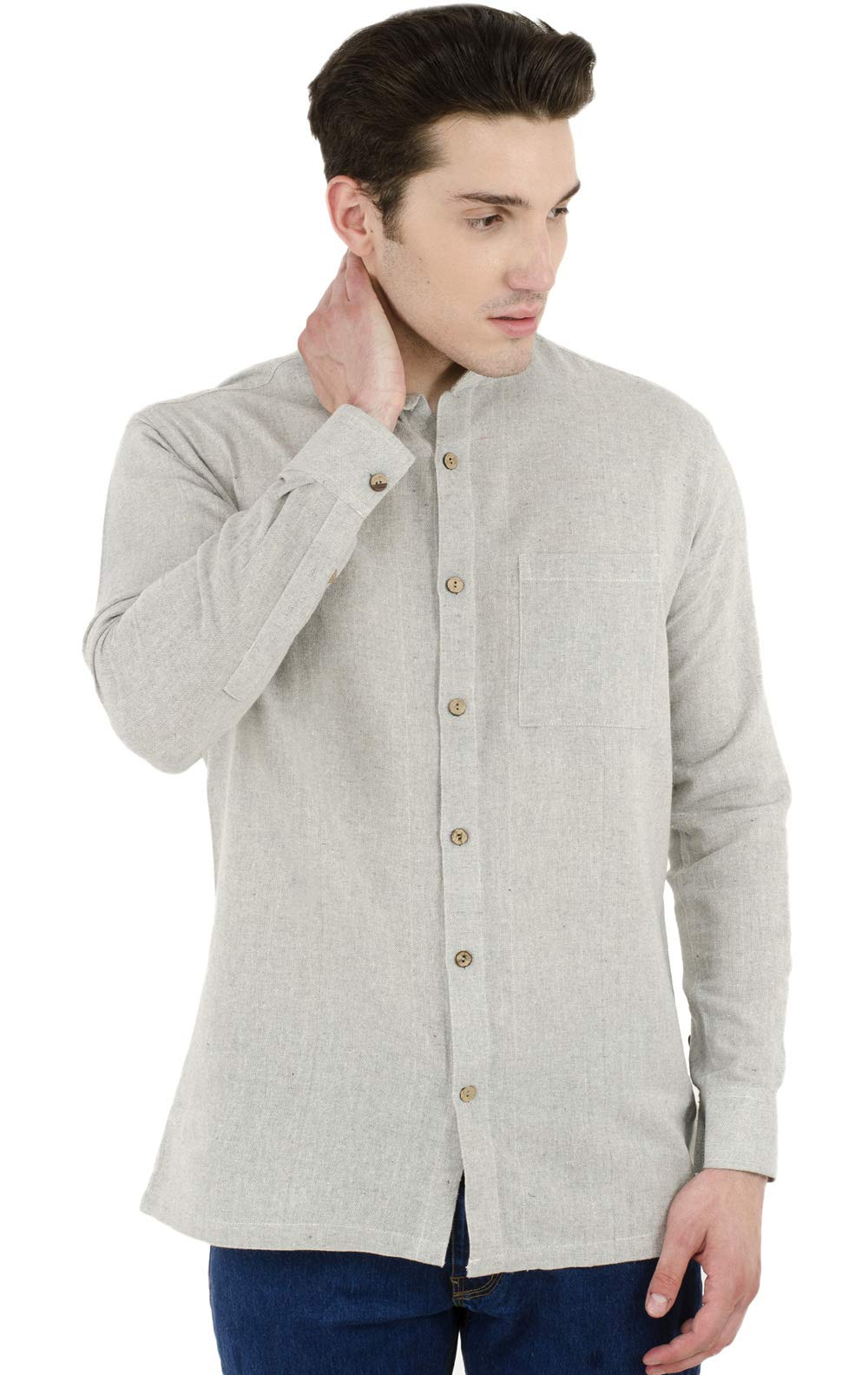 SKAVIJ Button Down Shirts for Men Cotton Long Sleeve Casual Shirts Regular Fit Grey