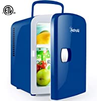 AstroAI Mini Fridge Portable AC/DC Powered Thermoelectric System Cooler and Warmer 4 Liter/6 Can for Cars, Homes, Offices, and Dorms,Blue
