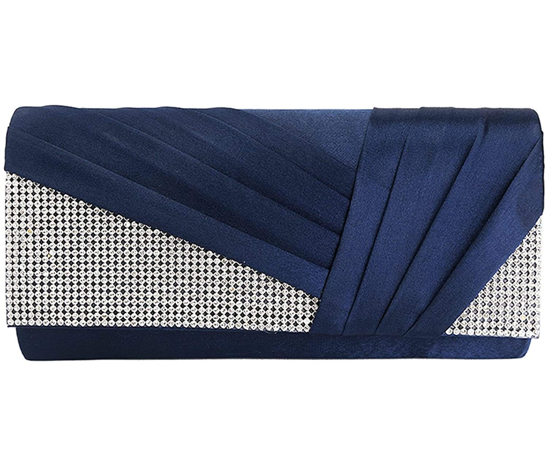 Jubileens Womens Elegant Pleated Satin Crystal Fashion Clutch Evening Bag Purse