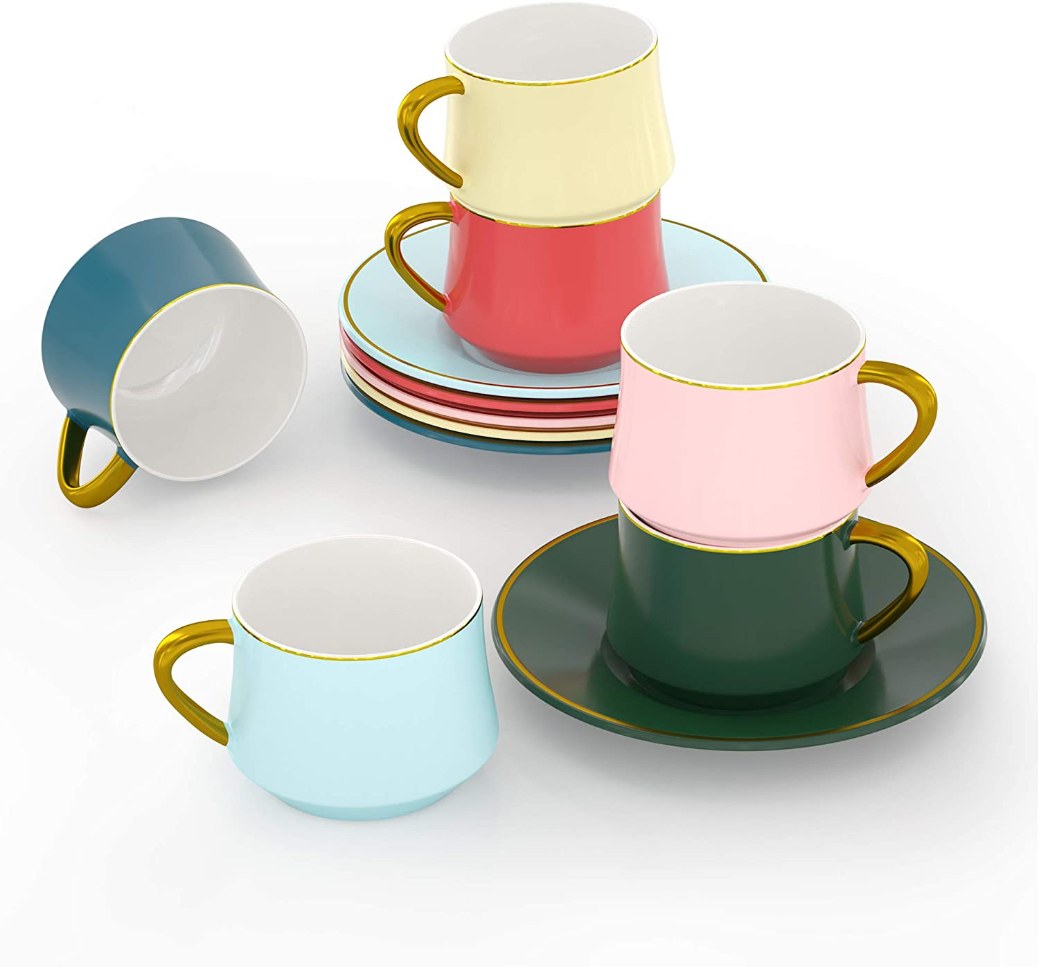 ADDTREE Rainbow Series Tea Cup Set,6 Color 6-Piece Ceramic Tea Cup and Saucer Set(4 OZ), Small Cappuccino and Double Espresso, Ceramic Coffee Cups for Coffee Shop and Barista
