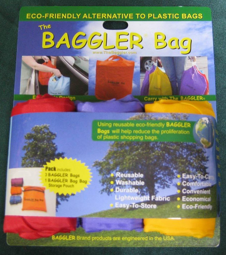 Baggler Bags - A Set of 3 Reusable Shopping Bags and Storage Pouch ...