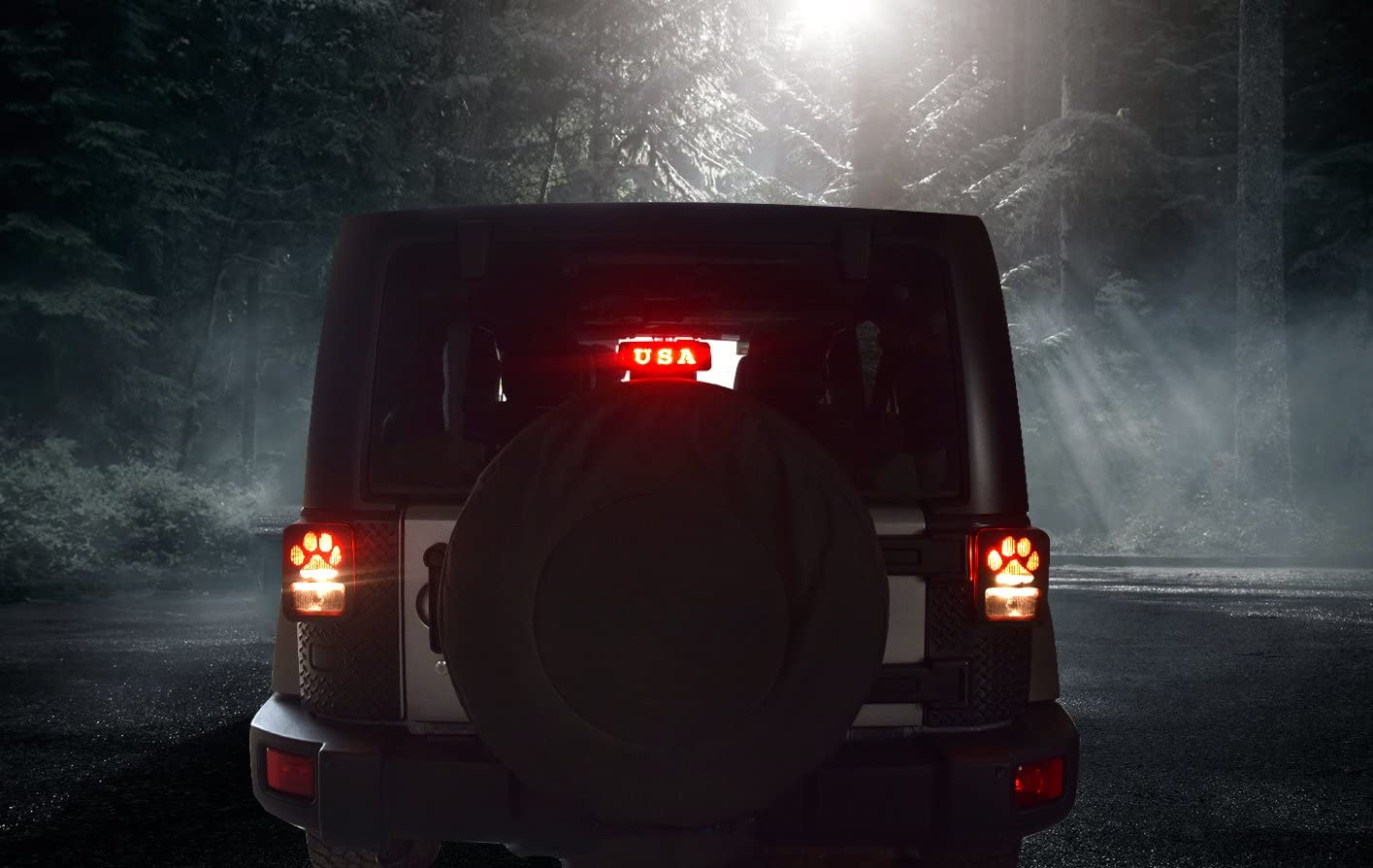 Black Dog Paw Stainless Steel Guard Light Cover Kit for Jeep ...