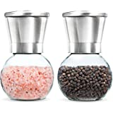 Premium Stainless Steel Salt and Pepper Grinder Set of 2- Brushed Stainless Steel Pepper Mill and Salt Mill, 6 Oz Glass Round