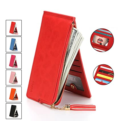 Xiaoqin Lady Leather Credit Card Holde Wallet Travel Mini Carteras/Titular / Bolso Tarjetero de