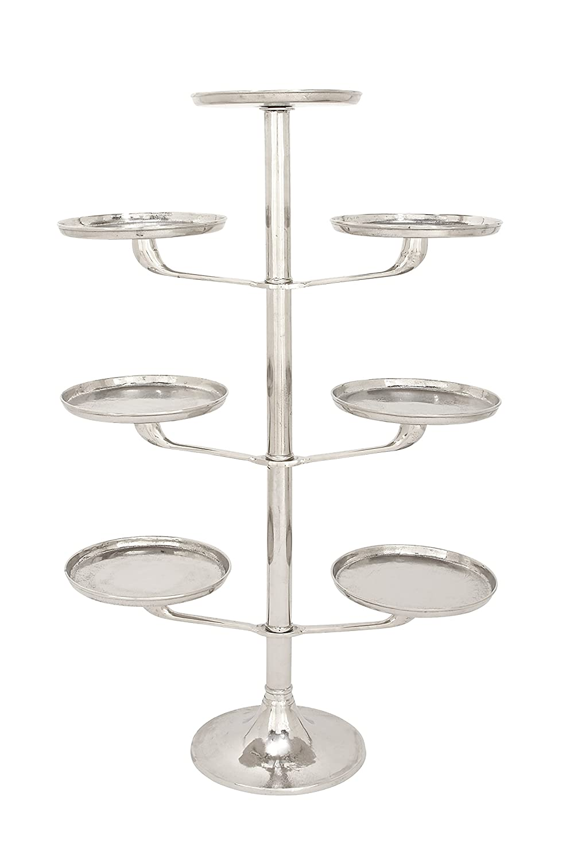 Benzara Classic Aluminium Tray Stand Silver 38026