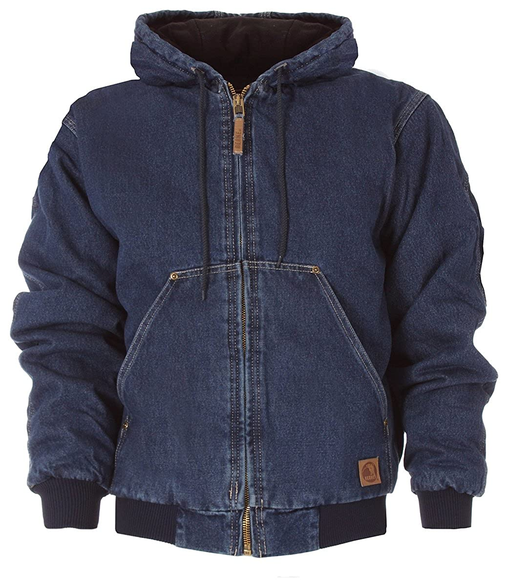 Berne Mens Washed Denim Hooded Jacket for Big and Tall