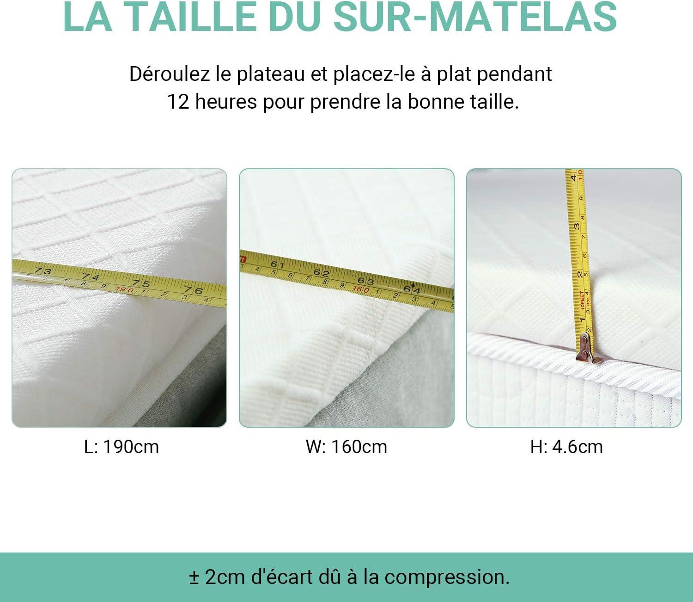 90 x 190 x 6cm Matelas Mousse Housse en Bambou hypoallerg/énique RECCI sur Matelas a Memoire de Forme de 6cm CertiPUR-EU Surmatelas 90x190 Amovible et Lavable en Machine