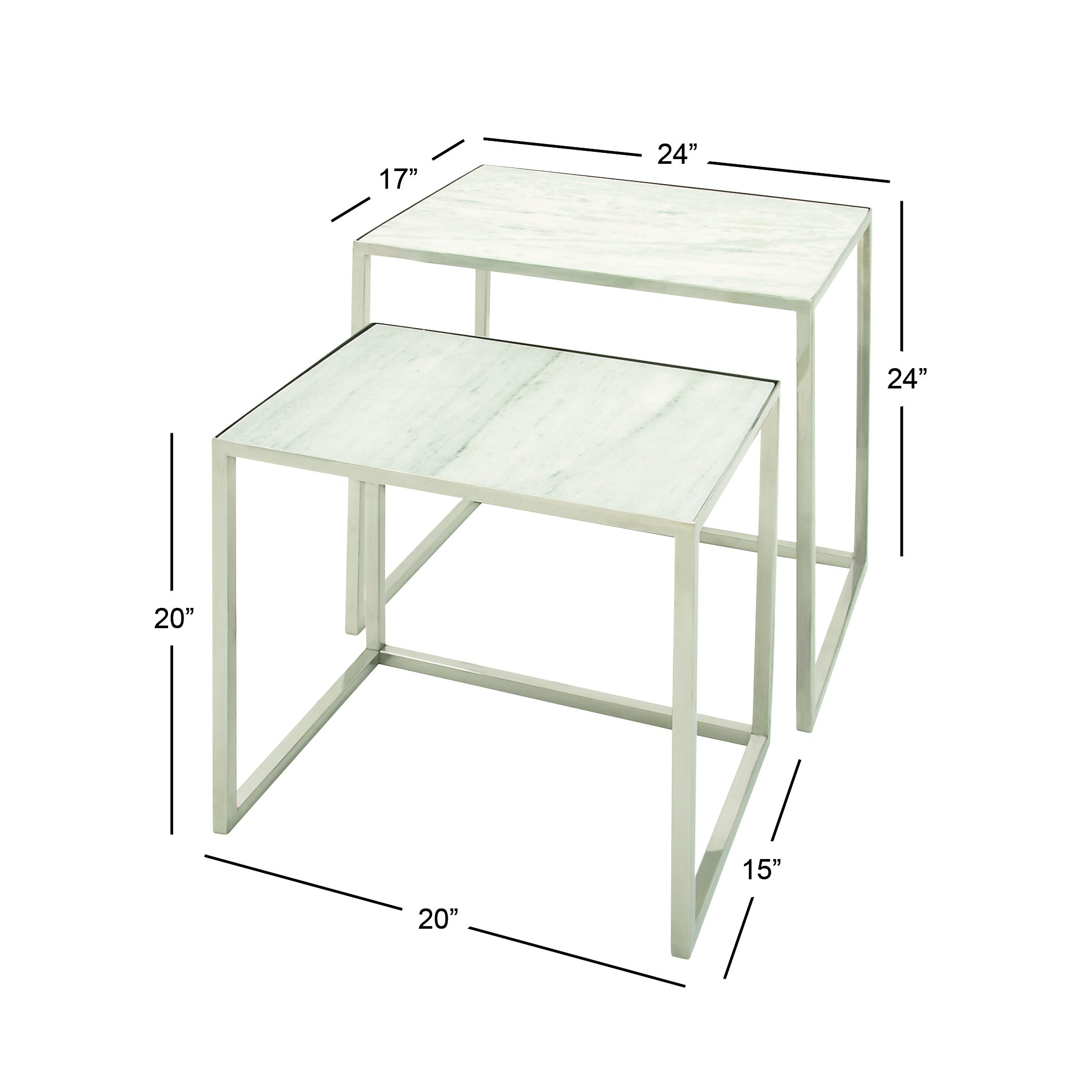 Deco 79 49605 Stainless Steel Marble Nesting Tables (Set of 2), 24''/20'' by Deco 79 (Image #2)