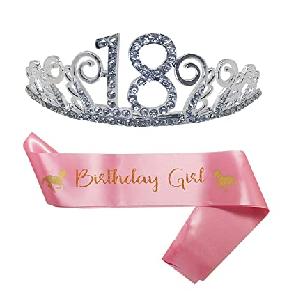 B4MBOO 18th Birthday Party Decoration Kit Tiara And Cute Unicorn Pink Satin Sash