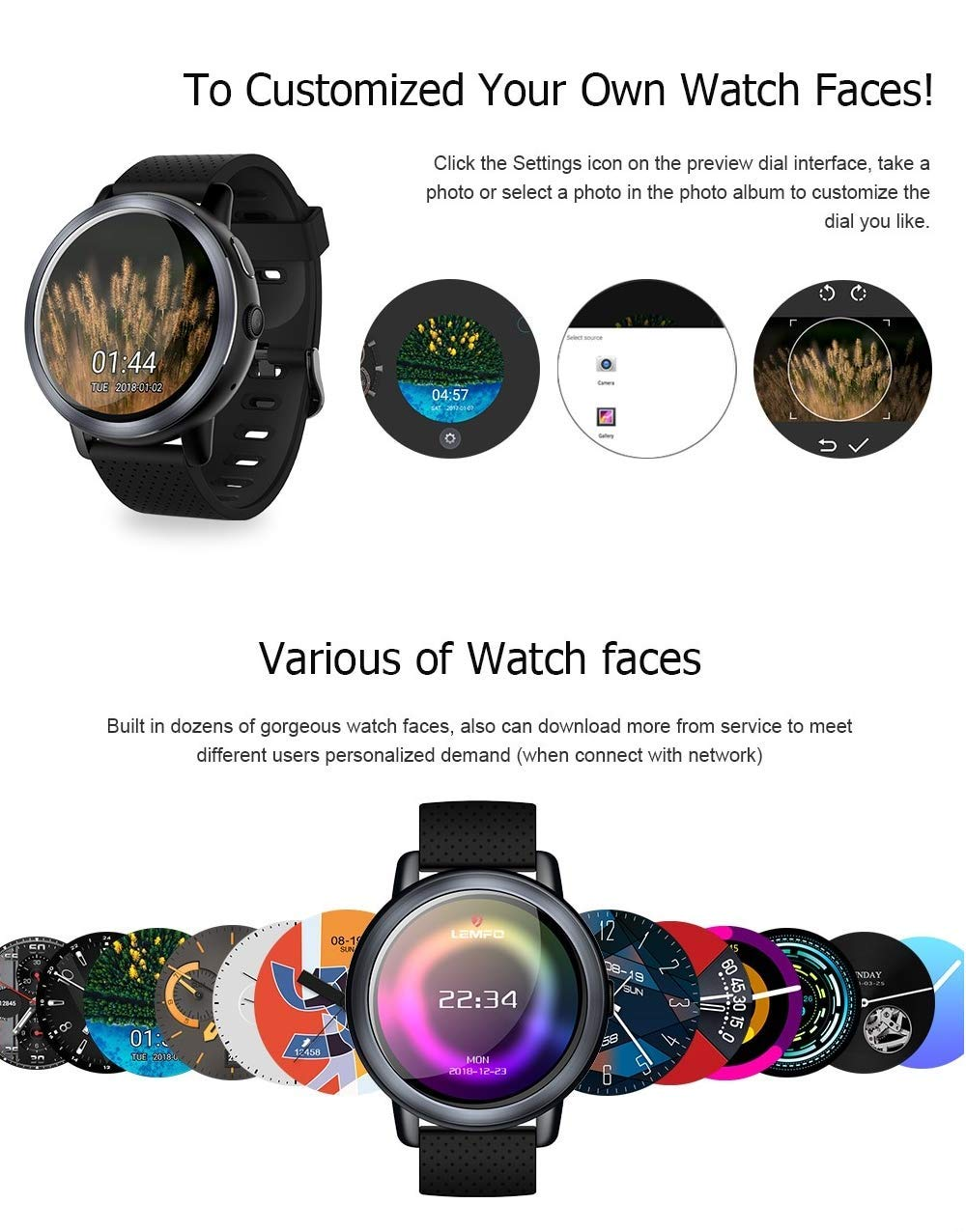 Amazon.com: LEMFO LEM8 4G Smart Watch + Headphones as Gift ...