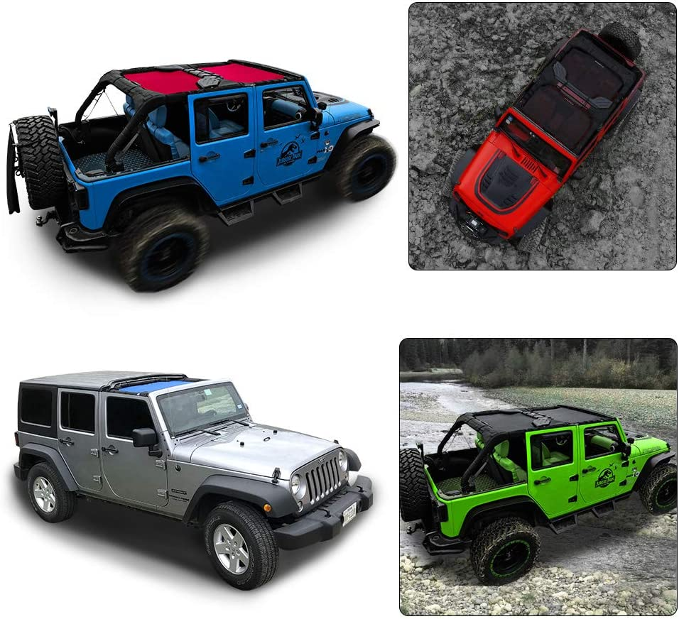 Shadeidea Jeep Wrangler Sun Shade JK Unlimited 4-Door Front /& Rear-Cherry Red Mesh Screen Sunshade JKU 4D 2007-2018 Top Cover UV Blocker with Grab Bag-10 Years Warranty