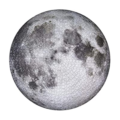 Round Moon Puzzle 1000 Pieces Difficult Puzzles for Adult and Teenagers, Large Full Moon Jigsaw Puzzle Planet Astronomy Enthusiast Decompression Game Toys Educational Tool: Arts, Crafts & Sewing