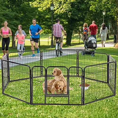 Dog Pen 8 Panel Folding Portable Pet Playpen with Door Heavy Duty Metal Puppy Dog Exercise Pen Indoor Outdoor Dog Fence Kennel for Small-Large Dogs, 24 ,32 ,40